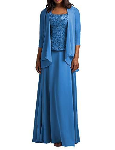 HUINI Abendkleider Damen Hochzeitskleid Lang Elegant Ballkleid Brautmutterkleider Groß Größen Partykleider mit Ärmel Meerblau 44
