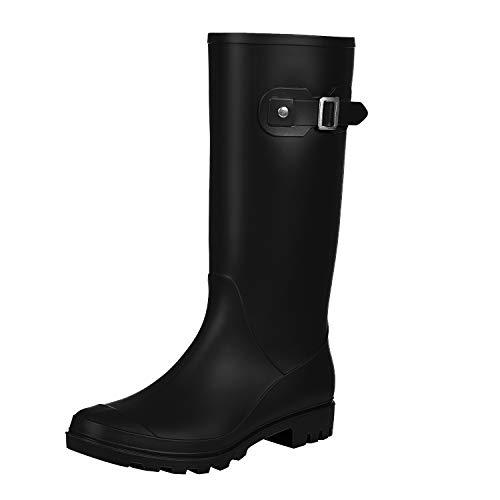 Women's Knee High Rain Boots - Narrow Calf - Fashion Waterproof Tall Wellies Rain Shoes