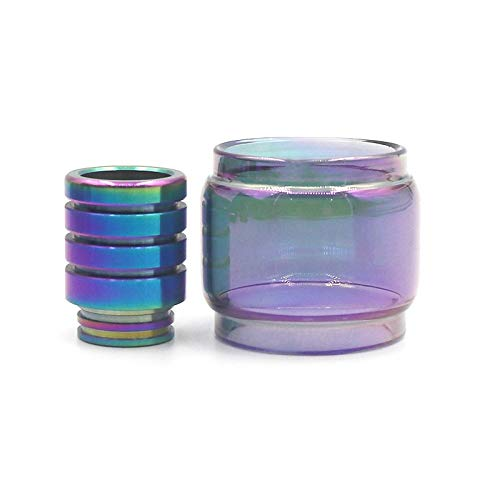 Qingtian-ceg Tubo de Vidrio en Forma for 3 en 1 Kit de Ajuste for el Conejo Muerto Arco Iris + Claro Bulbo + Fat Largo del Arco Iris 810 Drip Tip Vape (Color : Fit for 2 in 1)