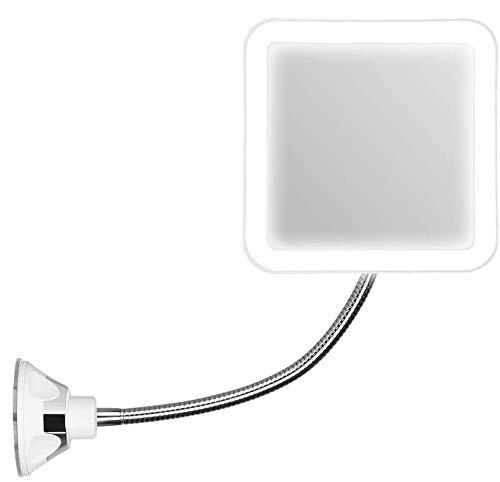 FeelGlad Vergrößerungsspiegel, LED beleuchtet Kosmetikspiegel mit 10-facher Vergrößerung, Starkem Saugnapf und 360° Schwenkbar für Zuhause und Unterwegs
