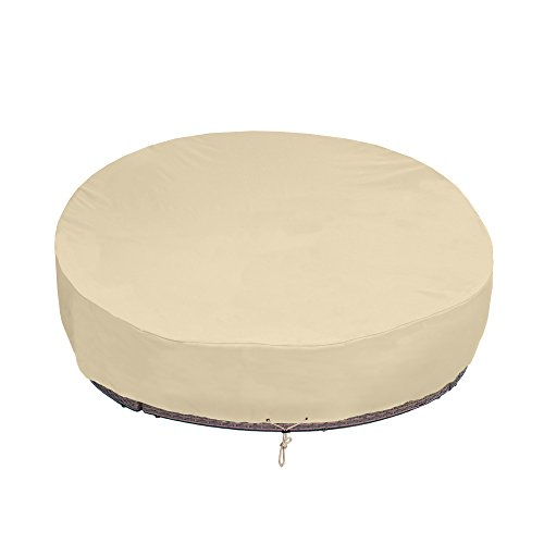 SunPatio Round Patio Daybed Cover 88 Inch, Heavy Duty Waterproof Outdoor Canopy Daybed Sofa Cover with Taped Seam, 88' L x 85' W x 35'/16' H, All Weather Protection, Beige
