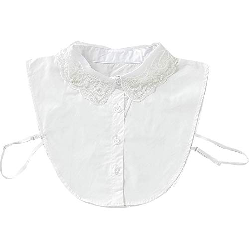 HENGYI Abnehmbares Revers Fake Minimalist Stripes Denim Women Collar Niedliche Puppe schen Spitze Splei Falsche Halbhemd Bluse (E, M)