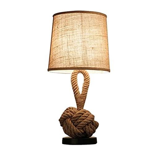ZHAN YI SHOP Lámpara De Mesa De Cuerda De Cáñamo Nórdico, Lámpara De Mesa De Ropa De Tela Retro, para Lámpara De Noche De Dormitorio
