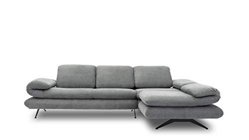 Domo Collection Milano Ecksofa | Sofa mit Armlehn- und Rückenfunktion in L-Form, Polsterecke Eckgarnitur, grau, 269x172x83 cm