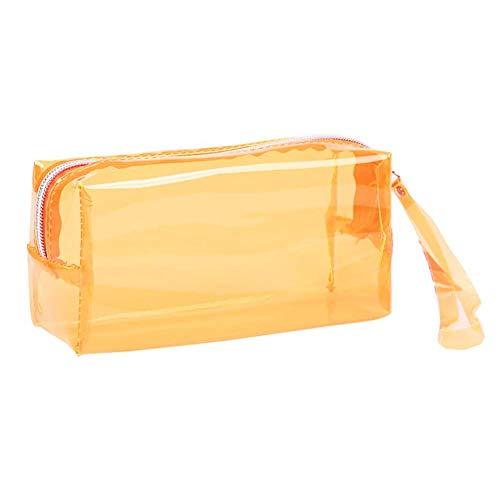 Nowbetter Estuche transparente para lápices, estuche grande, neceser de cosméticos con cremallera, para material escolar y de oficina, 19,5 x 6 x 9 cm (naranja)