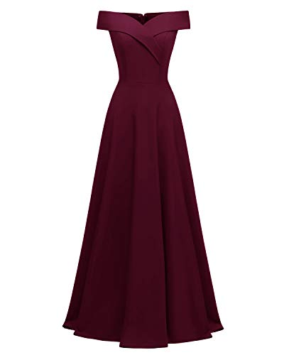 Viloree Damen Abendkleid Langes Kleid Brautjungfer Cocktail Ballkleid Schulterfrei Party festlich Burgundy L