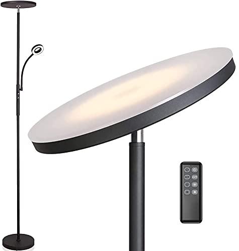Anten Deckenfluter Klara mit Leselampe | schwarz | 30W dimmbare Led Stehlampe mit Fernbedienung | 3 Lichtfarbe | Helligkeit stufenlos einstellbar | helle Stehlampen für Wohnzimmer Schlafzimmer Büro.