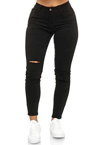 Elara Damen High Waist Hose Skinny Fit Jeans Chunkyrayan EL10 Black 44 (2XL)