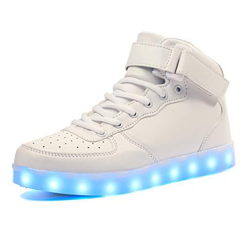 Voovix Barn LED-skor som lyser upp skor höga sneakers för pojkar och flickor, - Vitt - 32 EU