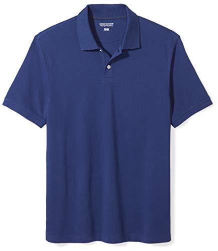 Amazon Essentials Men's Slim-Fit Cotton Pique Polo Shirt, Navy, Large