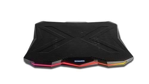 NOX Hummer Pro Stand -NXHUMMERPROSTAND- Base refrigeradora para portatil hasta 17,3', Ventilador 170 mm, 7 Alturas Ajustables, Controlador Velocidad, Tira LED RGB, HUB USB X2, Negro