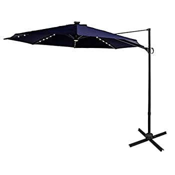 FLAME&SHADE 10 ft Cantilever Offset Outdoor Patio Umbrella with Solar LED Lights Base Stand Rotate and Tilt - Navy Blue
