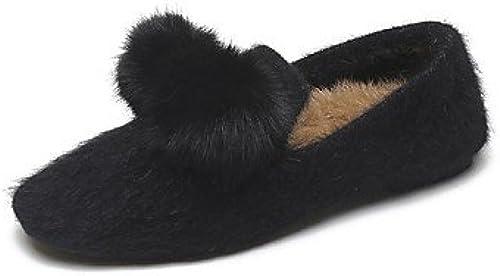 Wuyulunbi@ Chaussures femmes de confort d'hiver polaire Appartements Talon plat bout rond pour piscine