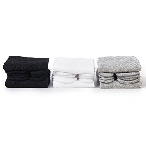 PIXNOR Tabi de algodón elástico de 3 pares calcetines del dedo del pie (blanco + gris + negro)