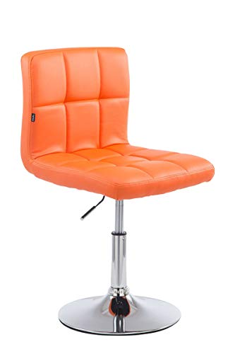 Taburete Bajo Palma V2 En Simil Cuero I Silla Lounge Regulable En Altura & Giratoria I Butaca De Salón Moderna & Acolchado I Color:, Color:Naranja
