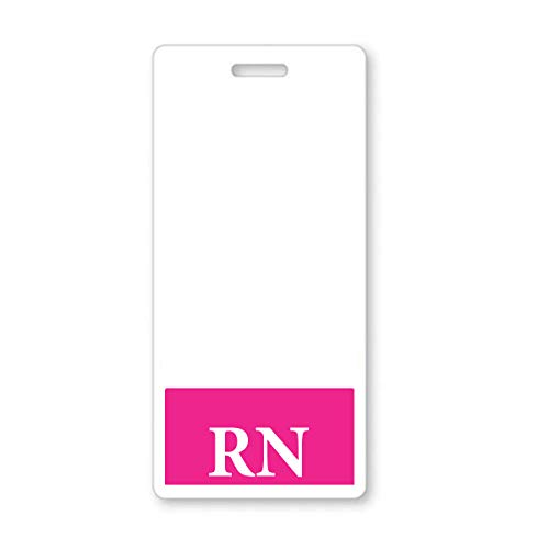 5 Pack - Pink RN Badge Buddy - Vertical - Heavy Duty Spill Proof & Tear Resistant Cards - Double Sided- Quick Role Identifier ID Buddies for Registered Nurse - Printed in The USA by Specialist ID