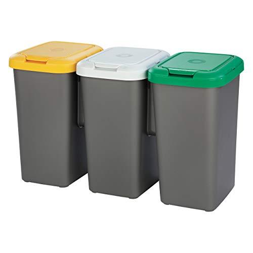 Tontarelli Set 3 PAPELERAS DE Reciclaje, Papel, Gris, 25 l