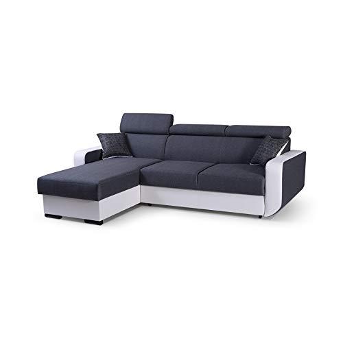 mb-moebel Ecksofa mit Schlaffunktion Eckcouch mit Bettkasten Sofa Couch Wohnlandschaft L-Form Polsterecke Pedro (Grau, Ecksofa Links)