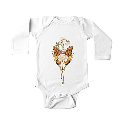 Huang Tatuaje Mariposa Peonías Bebé De Una Pieza