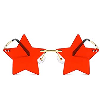 Rimless Star shape Sunglasses Transparent Sun Glasses for women/men Party glasses Super Cute pentagram eyewears  red