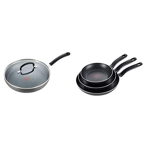 """T-fal Dishwasher Safe Cookware Fry Pan with Lid Hard Anodized Titanium Nonstick, 12-Inch, Black & Specialty 3 PC Initiatives Nonstick Inside and Out, 8"""", 9.5"""", 11"""", Black"""