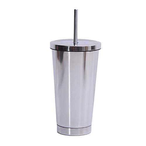 Roestvrijstalen koffiemok 500ml thermomok met deksel Bierpullen voor theekop Thermoskan Metalen beker Drinkrietje Reisbekers, zilver x 1PC borstel
