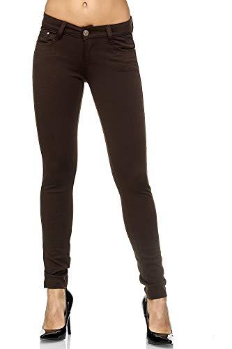 Elara Pantalón Elástico para Mujer Skinny Fit Jegging Chunkyrayan Marrón 2488-5 Brown 36 (S)