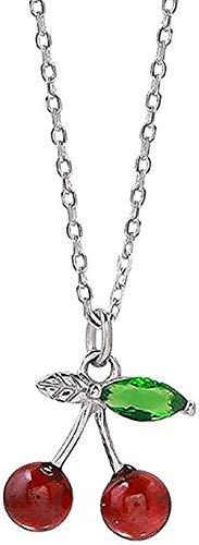 YZXYZH Collar Moderno Popular Exquisito Collar Granate Cereza Color Plata Colgante Moderno Collar Exquisito De Moda Adecuado para Mujeres