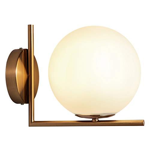 Zunruishop Wandlamp, moderne glazen bol, wandlamp, wandlamp, slaapkamer, woonkamer, hal, wandlamp (goud)