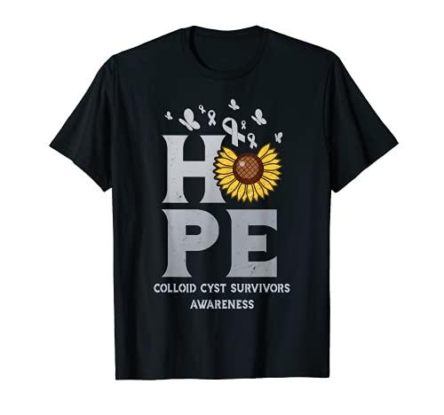 Colloid Cyst Survivor Awareness Silver Ribbon Sunflower Hope T-Shirt