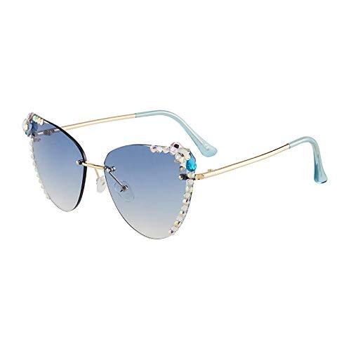 hqpaper Polygonal geschliffene Diamant-Sonnenbrille Frauen Sonnenbrille im koreanischen Stil Frauen randlose Brille Sonnenschutz-Dish Xian (Himmelblau) Dreidimensionale Diamant-Sonnenbrille