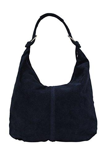 AMBRA Moda, borsa a mano da donna, borsa a spalla, borsa hobo, in vera pelle scamosciata italiana WL803 (blu scuro)