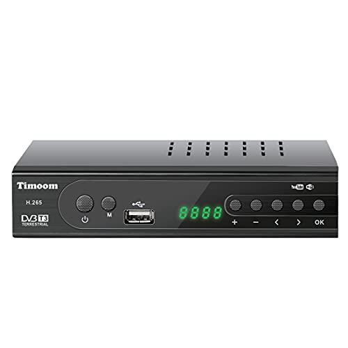 Timoom DVB-T2 Decoder Digitale Terrestre Nuovo Standard Con Codifica HEVC 10 Bit, Ricevitore Digitale Terrestre Full HD  1080p H.265   Dolby   MPEG-2 4, Con Telecomando