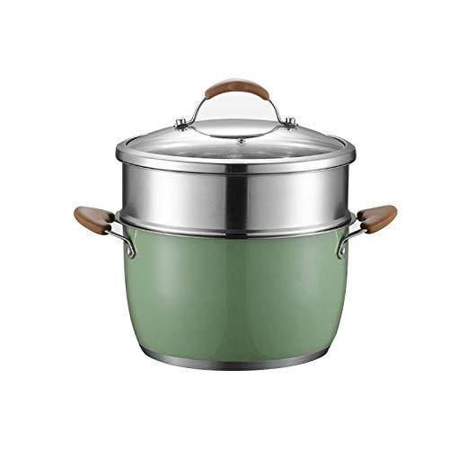 Olla de acero inoxidable de 24 cm de diámetro con tapa de cristal para sopa, olla para cocinar al vapor
