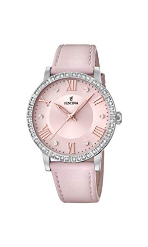 Festina Damen Analog Quarz Smart Watch Armbanduhr mit Leder Armband F20412/2