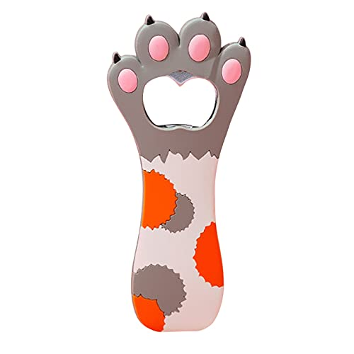 Abrebotellas abrebotellas, abrebotellas con forma de huella de gato, 1 pieza abrebotellas magnético para frigorífico, abrebotellas de cerveza, bonito diseño de pata de gato de silicona + metal (B)