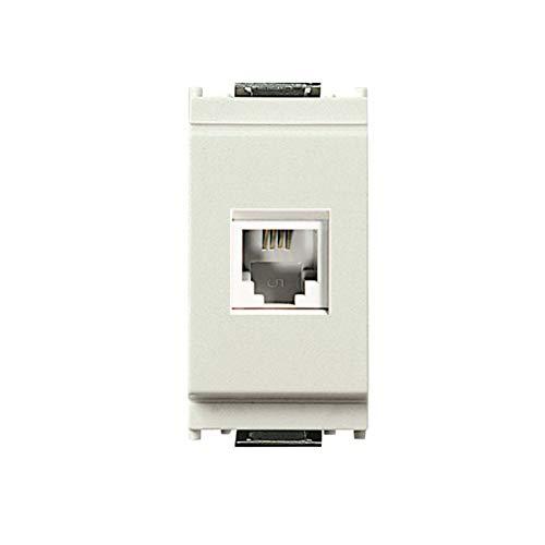 Frutto rj11 Toma telefónica 6/4 compatible Vimar idea 16335.B toma modular 4 polos para cables telefónicos conexión a crimpar sin herramientas, color blanco