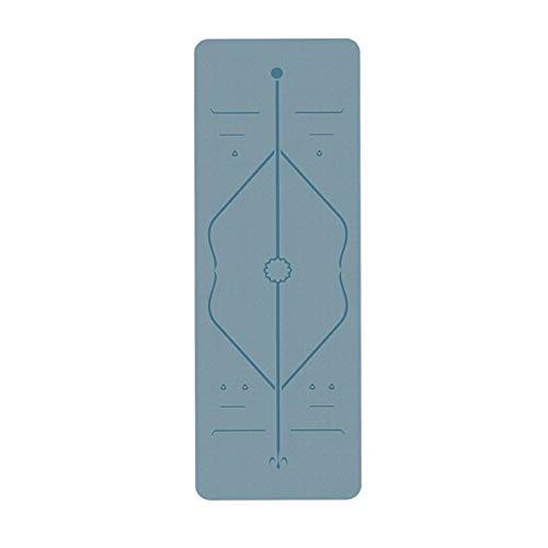 Yuan Ou Esterilla Yoga Estera de Yoga TPE portátil ecológica Gruesa Antideslizante con Correa y Bolsa de Transporte Gratis Azul Claro