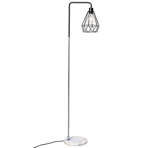 INMOZATA Retro Floor Lamp Marble Base Copper Metal Finish with Geometric Lampshade