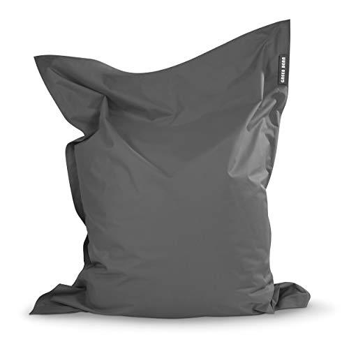 Green Bean © Square XXL Riesensitzsack Grau 140x180 cm - 380 L - waschbar, ergonomisch, doppelt vernäht, extrem robust, Abnehmbarer Bezug - Indoor Outdoor - Großer Sitzsack für Kinder und Erwachsene
