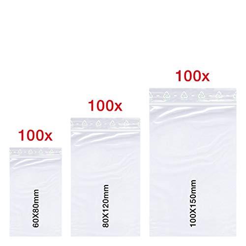 300 X Druckverschlussbeutel Set | 60x80 mm | 80x120 mm | 100x150 mm | 50 mµ Stark | LDPE | Transparent | Gefrierbeutel | Lebensmittelecht | ZipLock | Flachbeutel Set | von Smart Pack™
