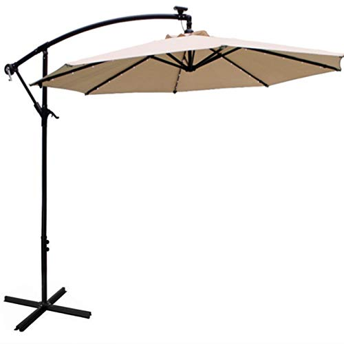Cantilever Garden Parasol Height-adjustable Parasols, Outdoor Patio Umbrella with Crank Handle & Tilt Sun Protection, with LED Lights