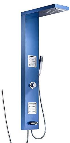 Edelstahl Duschsäule Duschpaneel Regendusche Massagedüsen Wasserfall Wanneneinlauf 4 Farben Sanlingo, Farbe:Blau