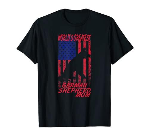 EL MEJOR PASTOR ALEMÁN DEL MUNDO Bandera Retro USA Día de la Camiseta