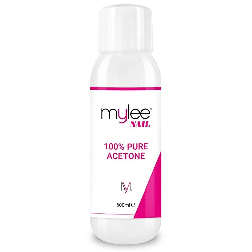 Mylee 100% Pure Acetone 600ml High Quality Nail Polish Remover for UV/LED Gel Soak Off (Pack of 1)