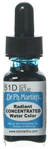 Dr. Ph. Martin's Radiant Concentrated Water Color (51D) Watercolor Bottle, 0.5 oz, Ice Blue, 1 Bottle