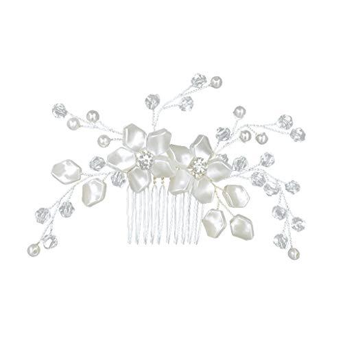 Süße Kristall Perle Blume Haarnadel Clip Kamm, Hochzeit Brautjungfer Haarschmuck, spezielles Design Hochzeitskleid Haarnadel Stirnband, für Geburtstagsfeier Bankettempfang,haarnadeln hochzeit (Weiß)