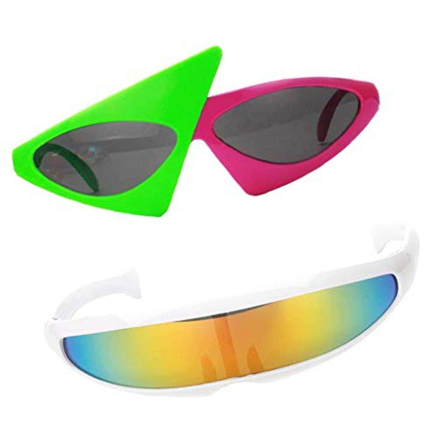 Fityle 2 Pieces Fashion Cosplay Sunglasses Party Glasses Photo Props Futuristic Narrow Roy Purdy Holiday Gifts