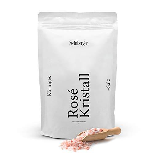 Körniges Rosé Kristall-Salz von Steinberger | 98.2% naturreines Steinsalz (auch bekannt als Himalaya-Salz) | 1000 g im wiederverschließbaren Standbeutel