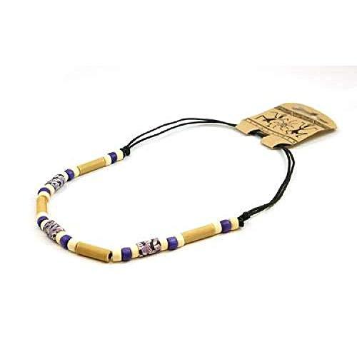 FJ287 - The Olivia Collection Collier de Perles de Bambou sur Corde Noire Ajustable